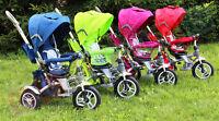 Dreirad Fahrrad Kinder Kinderwagen 4 Farben Drehsitz Gummiräder