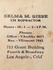 Rare Vintage Business Card Chiropractor Doctor Los Angeles Ca Dr. Selma M Giese