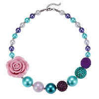 Girls Kids Pink/Red Rose Flower Acrylic Beads Chunky Necklace Birthday/XMS Gift