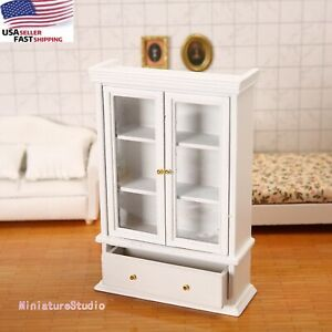 Dollhouse Miniature 1/12 Cabinet Bookcase Bookshelf Wood Furniture Accessory dec