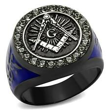 Stainless Steel Black & Blue Ion Plated Crystal Masonic Freemason Ring Sz 8-13