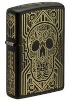 Zippo Art Deco Skull Design Black Matte Windproof Pocket Lighter, 218-081168