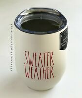 Rae Dunn Sweater Weather Stainless Steel Wine Tumbler Ivory Red Letters New
