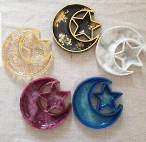 Handmade Resin Ramadan Moon and Star Tray Table Decor Islamic Decoration Eid