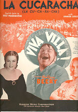 "VIVA VILLA! Sheet Music ""La Cucaracha"" Wallace Beery Fay Wray Katherine DeMille"