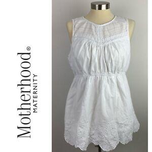 Motherhood Maternity Womens Large White Sleeveless Eyelet Top No Belt