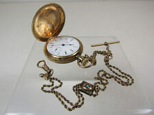 Vintage Elgin 14k Yellow Gold Case Pocket Watch w/ 14k Marked Fob Jewelry