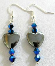 Dangle earrings - 12mm. Hematite heart + glass beads