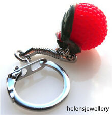 GORGEOUS HANDMADE BEAUTIFUL RASPBERRY KEYRING + FREE GIFT BAG