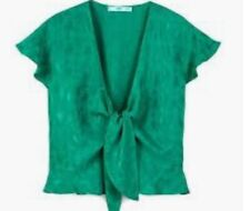 Mango Apple Green Tie Front Blouse Top  Medium Large 10 12
