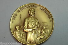 THE DANBURY MINT 1863 PRESIDENT LINCOLN'S The Gettysburg Address 24K G/EP MEDAL