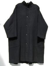 "Eskandar BLACK Heavy Weight Camel Hair  Shearling Collar 41"" Long Coat (1) $3890"