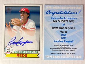 2013 Topps Archives DAVE CONCEPCION ⚾️ Fan Favorite Autograph Auto Reds