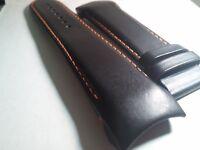 Genuine Tissot Band/Strap BLACK LEATHER, Orange Stitch, 120x80 length, 24/22mm c