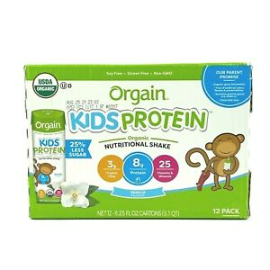 Orgain Kids Protein Organic Nutritional Shake, Vanilla, 8.25 Ounce, Pack of 12