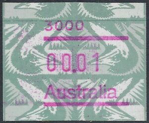 Australia 1994 1c 'green emu' Frama with two varieties: inverted and *plate join