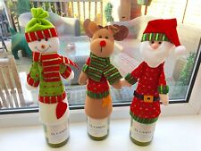 Set Of 3 Wine Bottle Covers Table Decoration Gift Cute Snowman Father Christmas