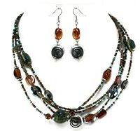 "Necklace Earrings Womens Turquoise Brown Silver Layered Multi Strand 20""L Set"