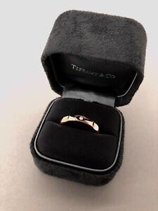 Tiffany & Co. Paloma Groove 4mm Narrow Ring Gold w/Diamond Size 11