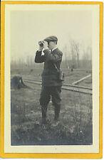 Real Photo Postcard RPPC - Boy with Binoculars