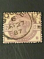 USED - 1883-84 Great Britain Stamp - Sc #101 - 2 1/2  Queen Victoria