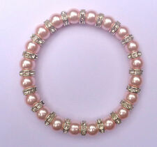 Elastic Glass Pearl & Diamante Rondelle Bead Bracelet & Gift Bag - 10 Colours