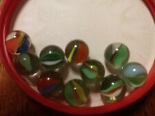 ESTATE Find 10 vintage Cats Eye Marbles Multi-color Banana shaped