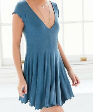 KIMCHI BLUE URBAN OUTFITTERS BLUE SHORT SLEEVE RIBBED KNIT T-SHIRT DRESS Sz L