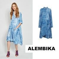 ALEMBIKA  D820  Poly-Silk  POCKETFUL DRESS  Tunic  S-2X SPRING 2018  SKY Tie-Dye