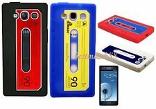 FOR SAMSUNG GALAXY S3 CASSETTE TAPE SOFT SILICONE CASE skin WHITE black red blue