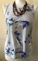 Reiss 1971 Constance 100% Silk Grey Raw Edged Vest Top (UK Size 04)