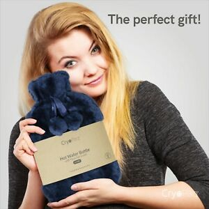 Cryopaq Hot Water Bottle with Plush Faux Fur Cover Soft Cosy Large Bed Warmer 2L