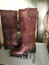 Frye CAMPUS STITCHING HORSE Womens Walnut Leather Pull On Boots 7M $348