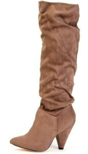 New Women's Ladies Faux Suede Taupe Ruched Under Knee High Boots Sizes