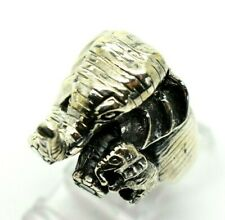 Elephant and Baby 3D Sterling Silver 925 Ring 10g Sz.7 DD106