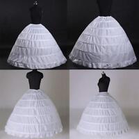 6 Hoop Crinoline Wedding Ball Gown Bridal Dress Petticoat Skirt Underskirt White