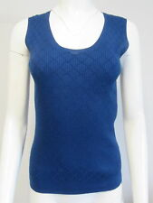 CHANEL AW118 royal blue sleeveless cotton knit sweater top size 40