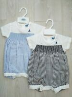 Baby Boys Gorgeous Spanish Style Smocked Striped Blue or Navy boat Romper 0-9Mth