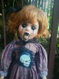OOAK Porcelain Ventriloquist Style Doll Goth Gothic Spirited Haunted