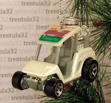 GOLF CART HOT ROD DRAGSTER WHITE GREY CHRISTMAS TREE ORNAMENT XMAS