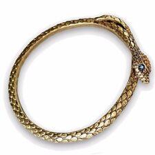 Sweet Romance Slim Snake Serpent Bangle Bracelet with Green Crystal Eyes
