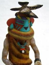 "Genuine Hand Carved HOPI 6.5"" Aha Chief Kachina Doll Sculpture by Malcolm Fred"