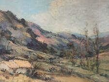 Peinture Paysage Cévennes Colline Huile Sur Carton Signés Identifier Circa 1950