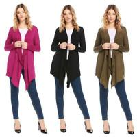 Women Casual Irregular Thin Long Sleeve Solid Open Front Cardigan EH7E
