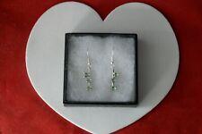 Beautiful Green Tsavorite Garnet Silver Earrings 3.5 Gr 2.4 Cm Long + Hook + Box