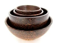 Wood Bowl Set of 4 Serving Small Wooden Round Food Rice Nut Soup Dipping Sauce