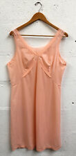 Vintage 1960's Slip Dress LINGERIE  Nylon Peach Lace Size 14 uk Rockabilly Mod