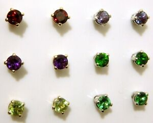 Gemstone Stud Earrings 14K Gold 3 mm Alexandrite Tsavorite Peridot Garnet more