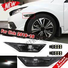 LED Smoke Side Marker Lights Lamps + T10 LED Bulbs Fit 2016-2018 Honda Civic JOE