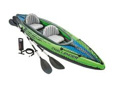 Intex K2 Challenger Kayak 2 Person Inflatable Canoe with Aluminum Oars and Pump